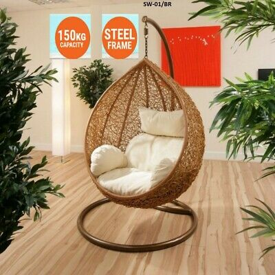 NEW HANGING SWING EGG CHAIR Rattan OUTDOOR Brown BASKET & creamy CUSHION