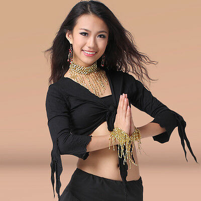 Hot Sale Women Cotton Belly Dancing Costumes Crop Top Long  Flared Sleeves