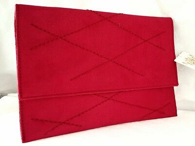 New Red Faux Suede Evening Day Clutch Bag Envelope Style Xmas Club Party Nude