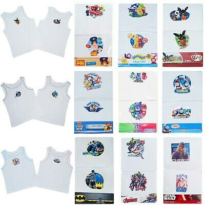 Boys 2 PACK Vests Sleeveless Character Underwear 18 Months upto 8 Years