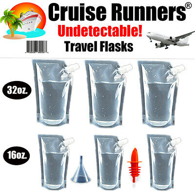 Cruise Ship Kit Flask 32oz + 16oz Runners Rum Alcohol Liquor Smuggle Booze