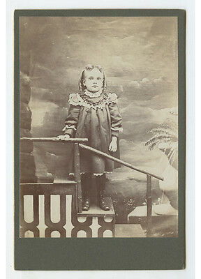 Cab Photo Portrait Of A Girl W/ Ringlets   Dress On Steps W/ Painted Backdrop