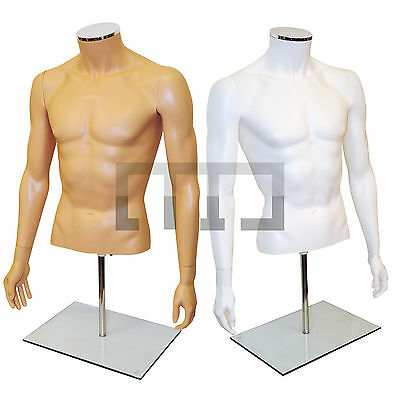 Half Male Plastic Torso Display Bust Mannequin Wth Full Arms Glass Base/ Stand