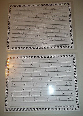 2 Pack Half Inch Lines Alphabet and Number Tracing Laminated Worksheets. Grade S