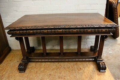 1111026 : Antique French Renaissance Carved Walnut Desk Writing Center Table