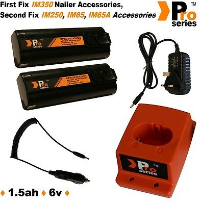 2xProSeries Batteries for Paslode IM65/65A +Wall Charger+Base+In Car Charger