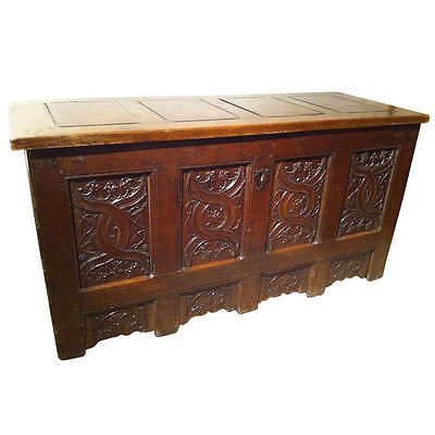 Gothic Oak Chest with Carved Linenfold Panels - Large Scale