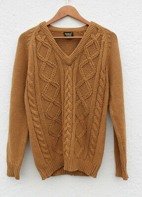 """Vintage 1970s V-Neck Cable Stitch Chunky Jumper Sweater Camel Tan Brown S 38"""""""