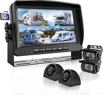 """7"""" Quad Monitor DVR SD Recorder Side Rear View Camera System For Truck Trailer"""