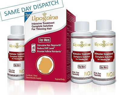 Lipogaine For Men Triple Pack Hair Loss Treatment Regrowth Dht Scalp Solution