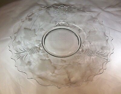 """HEISEY PLANTATION CRYSTAL 10-1/2"""" DIAMETER DEMI-TORTE PLATE with IVY ETCHING!"""