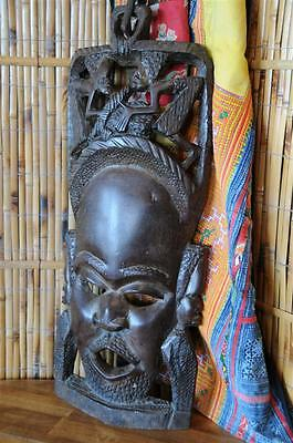 Old African Carved Hardwood Mask / Wall Hanging with carved wooden chain link...