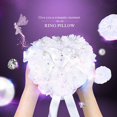 Heart Shaped Pearl Wedding Decor Cushion Ring Pillow With Gift Rings Holder Box
