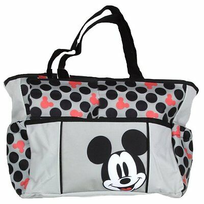 MICKEY MOUSE DIAPER BAG TOTE LARGE GRAY DISNEY BABY SHOWER GIFT CUTE POLKA Dot
