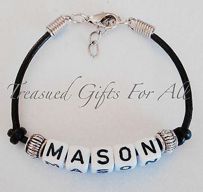 Personalised Child Adult Name Bracelet Black Leather Boys & Girls, Party Favour