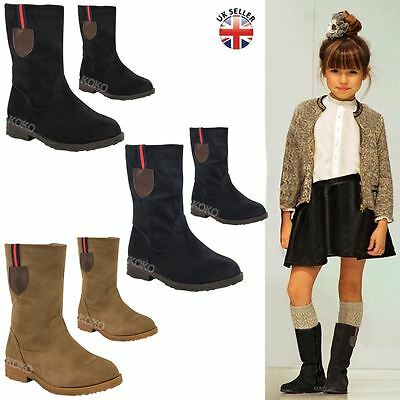 Girls Kids Childrens New Calf High Ankle Boots Flat Low Heel Grip Sole Shoe Size