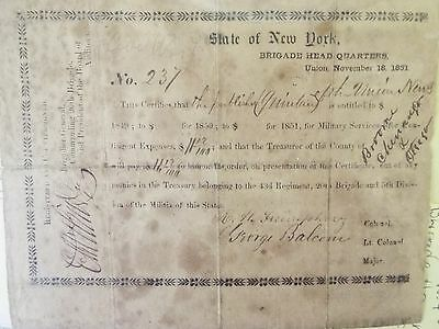 1851 - Pre Civil War - state of New York - Certificate for expenses