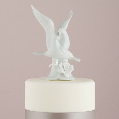 Glazed White Porcelain Doves and Flowers Wedding Cake Topper