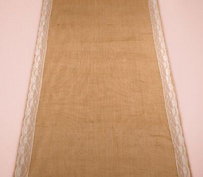 Burlap Wedding Aisle Runner with Delicate Lace Borders Weddingstar