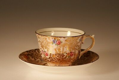 Colclough China, England Pink and Gold Chintz Cup and Saucer c. 1951