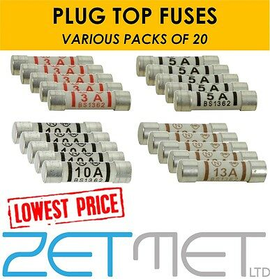 20 x 3A 5A 10A 13A Ceramic Household Domestic Mains Plug Top Fuses Electrical