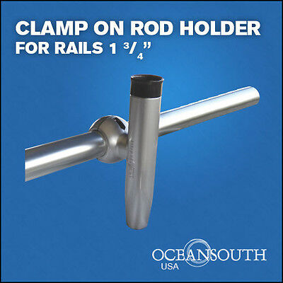 Heavy Duty  Clamp On Fishing  Rod Holder  For Rails 1 3/4""