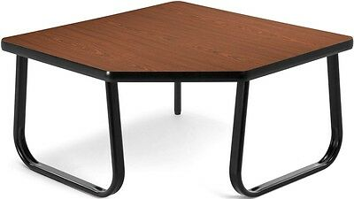 Corner Table with Black Sled Base in Mahogany Laminate Finish - Office Table