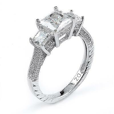 Sterling Silver Rhodium Plated and princess cut Cubic Zirconia Engagement Ring