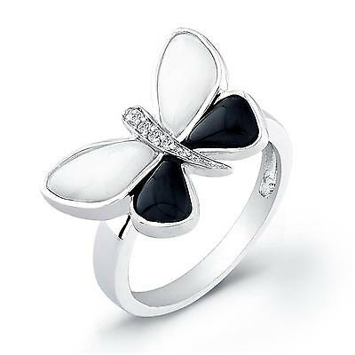 Sterling Silver Rhodium Plated with Black and White Enameled Butterfly Ring
