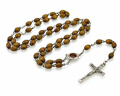 Genuine Holy Land Olive Wood Blessed Rosary With A Pinch Of Jerusalem Soil Gift