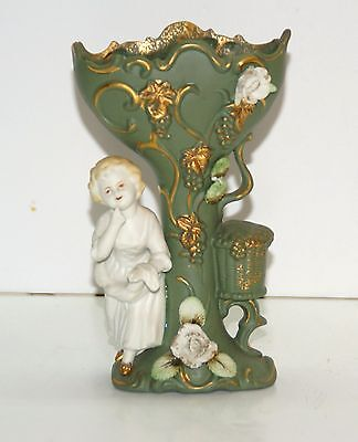 Japanese after Camille Naudot Bisque Porcelain Lady & Tree House Vase