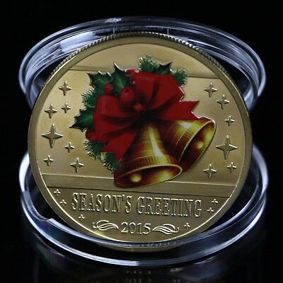 2015 Seasons Greetings Gold Plated Commemorative Coin Merry Christmas Collection