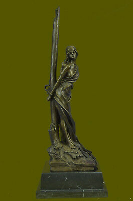 Neoclassical Bronze Chained Lady Sculpture Marble Base - Captive by Thomas Decor