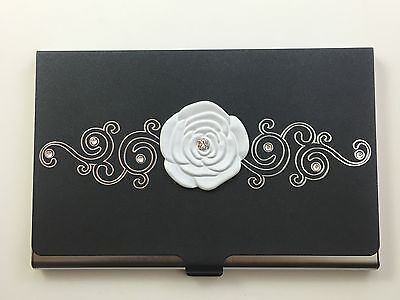 Business Card Carrying Case - Stainless Steel - Swarovski Crystal - White/Black