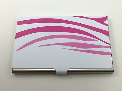 Business Card Carrying Case Stainless Steel Lips White Pink