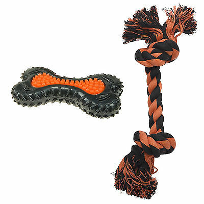 Petface Seriously Strong Heavy Duty Dental Bone & Knotted Rope Dog Puppy Toy