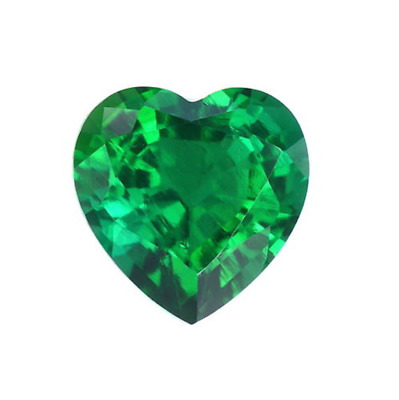 Lab Created Hydrothermal Colombian Emerald Heart Loose stone (3x3mm - 12x12mm)