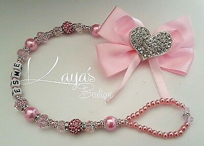 Romany Bling *Diamante Heart* Big Bow Shamballa Dummy Clip *Pink/Lilac/Red*