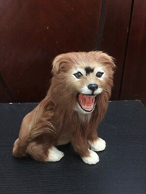 Real Fur LION Figurine Statue Vintage / Antique