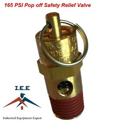 """165 PSI Air Compressor Safety Relief Pop Off Valve Solid Brass 1/4"""" Male NPT New"""