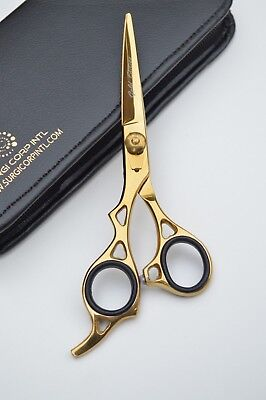 "6"" Professional Hairdressing Scissors Barber Salon Haircutting GOLD LEFT-HANDED"