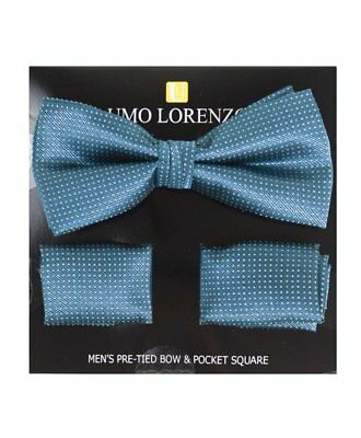 Steel Blue Dotted Banded Bow tie and Matching Hanky Set (BTH4048)