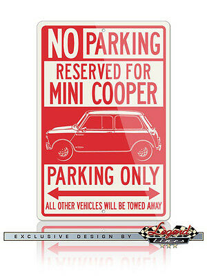 Austin Mini Cooper Reserved Parking Only 12x18 Aluminum Sign