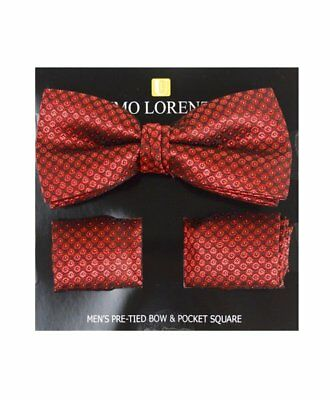 Red Circled Banded Bow tie and Matching Hanky Set (BTH4045)