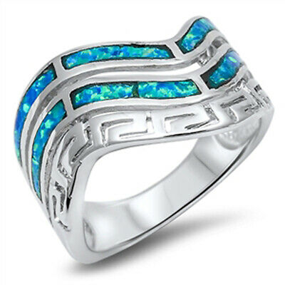 Wave Greek Key Blue Lab Opal Classic Ring .925 Sterling Silver Band Sizes 6-10