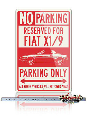 Fiat Bertone X1/9 Reserved Parking Only 12x18 Aluminum Sign