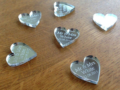 Personalised Wedding Table Decorations Favours Silver Mirror Hearts Wedding Gift