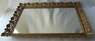 Gorgeous Vintage  Gold Filigree Ormolu Vanity Dresser Mirrored Perfume Tray