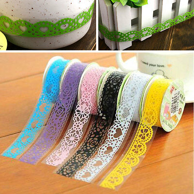 Lace Hollow Self Adhesive Masking Washi Tape Sticky Paper Sticker Cute Stickers