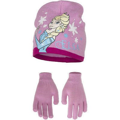 Disney Frozen Elsa Set Hat and Gloves One Size 4-8 Years Rose Pink